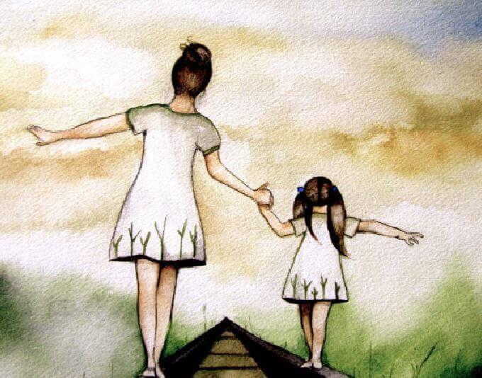 Resultado de imagem para mãe e filha de mãos dadas