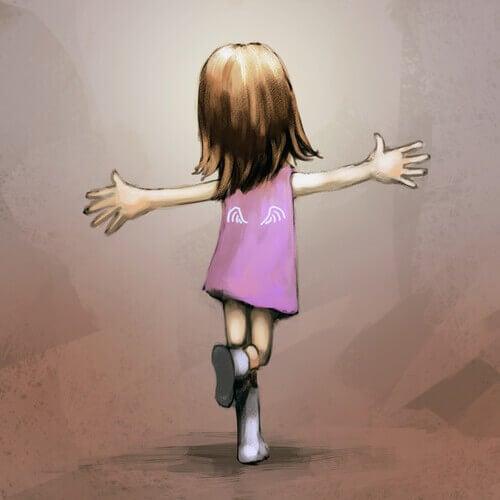 Menina-com-um-vestido-rosa-feliz-e-dançando-feliz