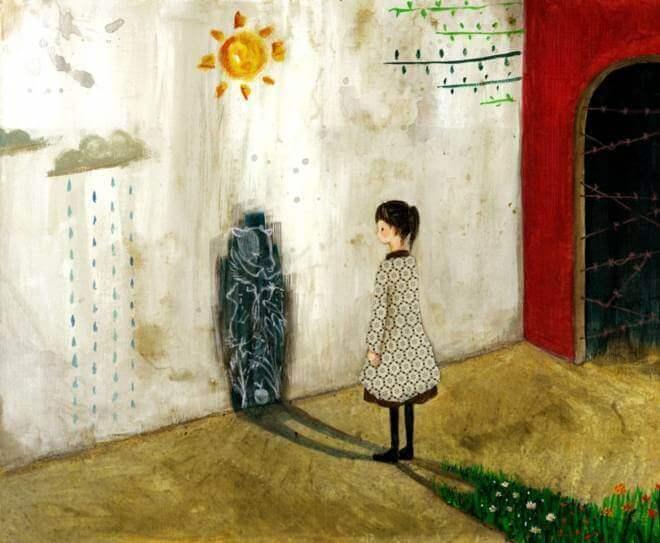 Menina olhando sua sombra negra