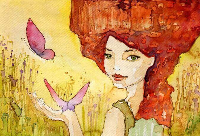 Mulher-com-borboletas-rosas-na-sua-mão
