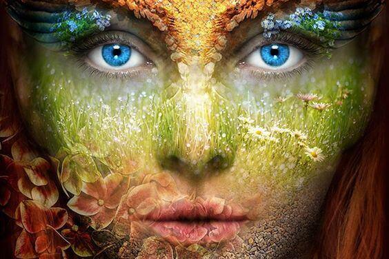 Rosto feminino representando a natureza