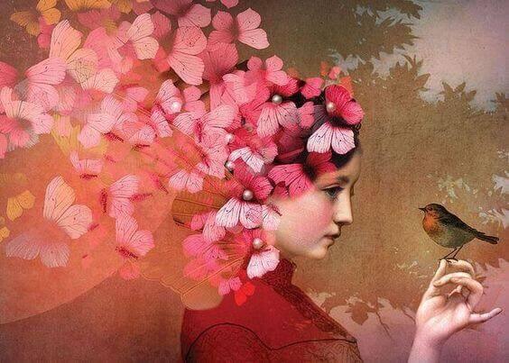 mulher-com-passarinho-pensando-em-suas-lembranças