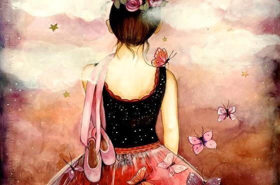 mulher-bailarina-pensando-em-suas-lembranças