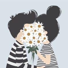 casal se beijando atrás de um buque de flores
