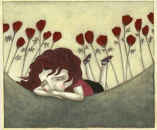 menina triste deitada