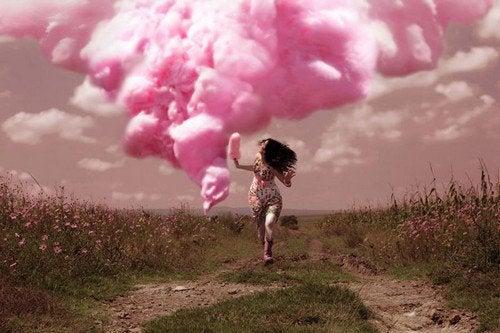Nuvem cor de rosa representando resultados diferentes