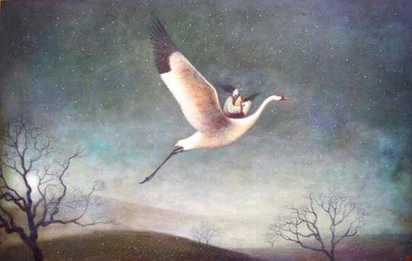 mulher-voando-em-passaro-representando-passar-do-tempo