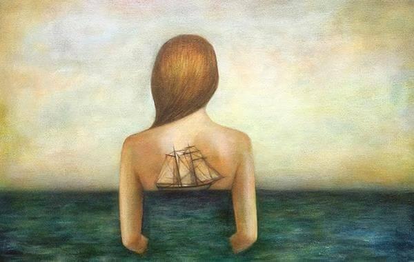mulher-mar-representando-passar-do-tempo