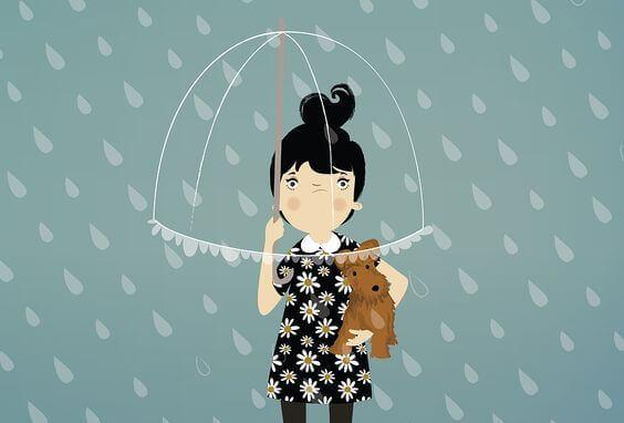 mulher-chuva-com-cachorro