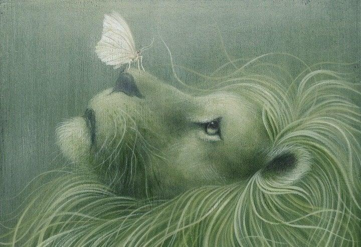 leão com borboleta