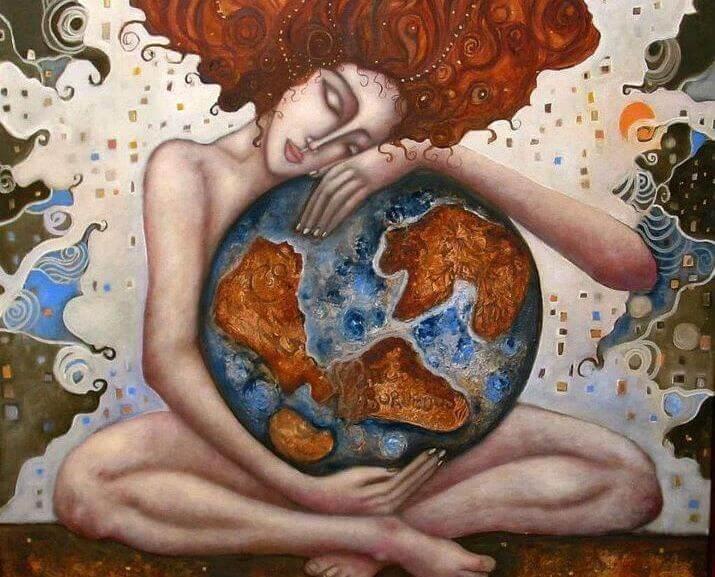 mulher abraçando o mundo sentindo nostalgia