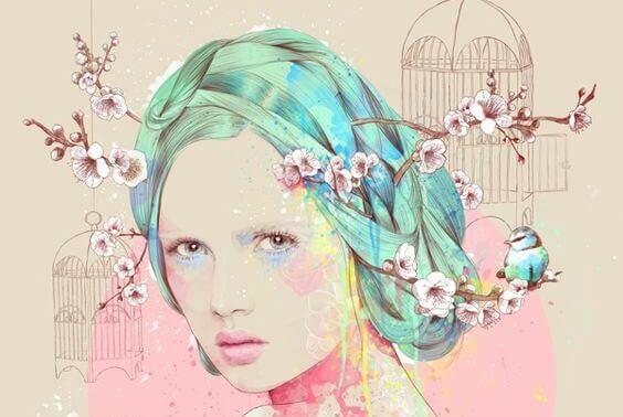 mulher-com-flores-de-amendoas-no-cabelo