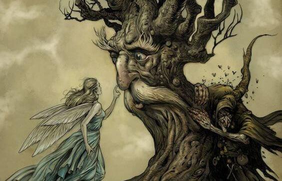 Árvore com fada representando paz interior