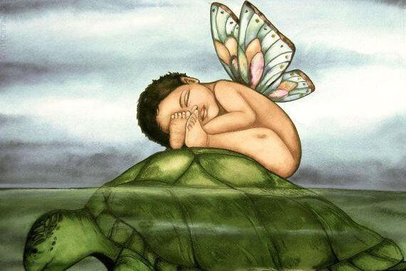 criança-com-asas-e-tartaruga