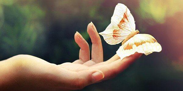 Mão com borboleta detalhes simples