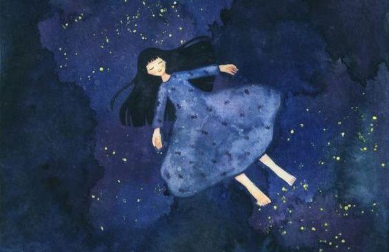 Menina vestido azul livre das pessoas que nos esgotam