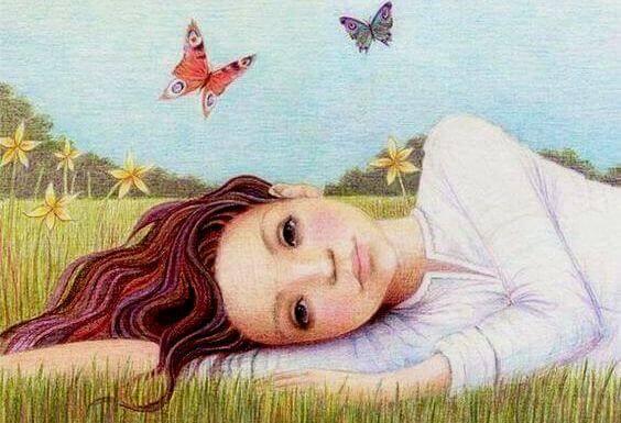 Mulher com borboletas