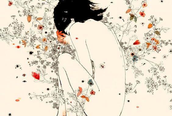 mulher-nua-com-flores