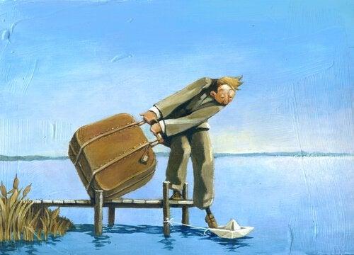 homem com mala e um pé no barco de papel