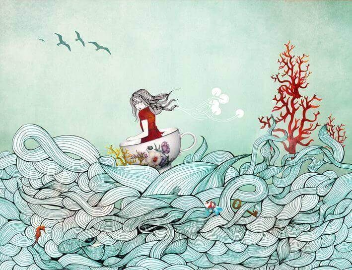 menina no mar nagevando pelas ondas