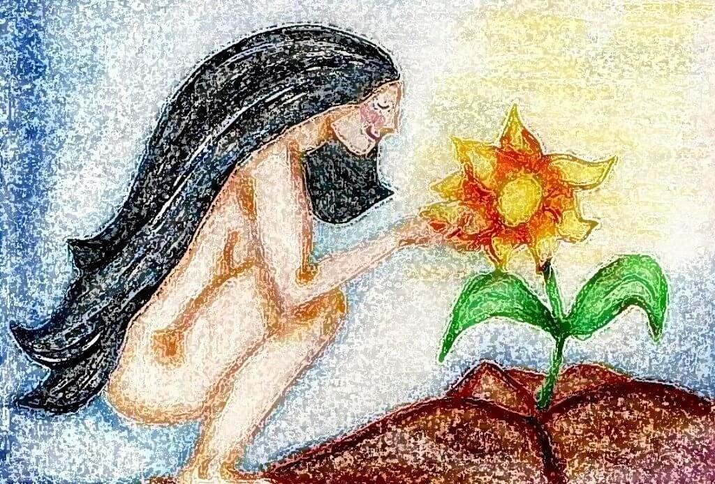 mulher agachada com flor