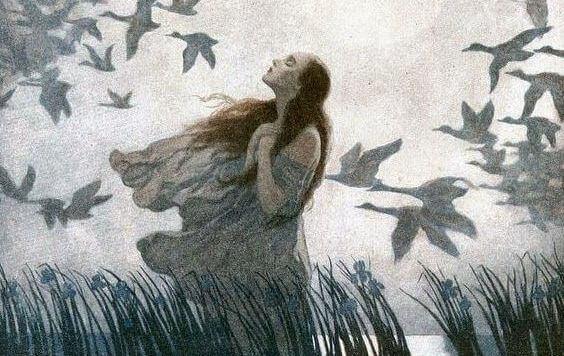 mulher-passaros-voando