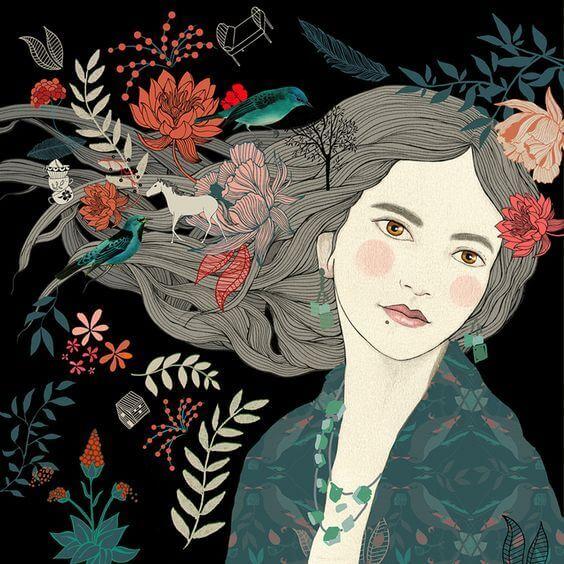 mulher-com-flores-e-plantas-no-cabelo