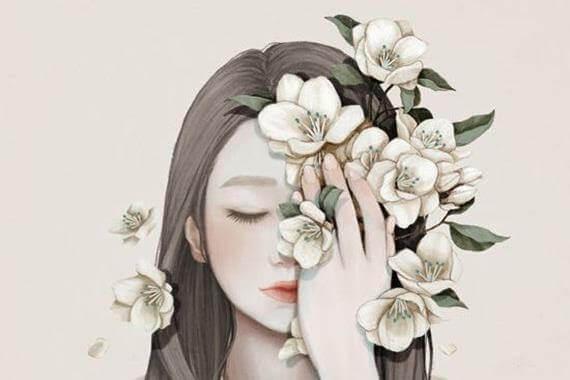 mulher-com-flores-no-rosto