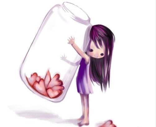 crianca-carregando-frasco-de-coracoes