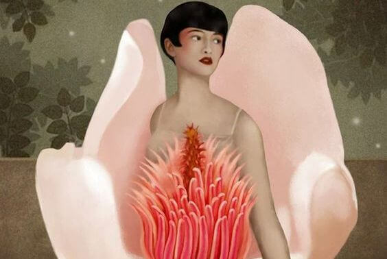 mulher-flor-cor-de-rosa