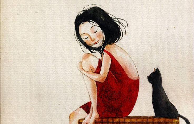 mulher-com-vestido-vermelho-junto-a-um-gato-preto