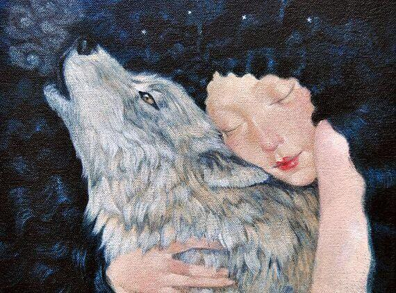 mulher-abraçando-lobo