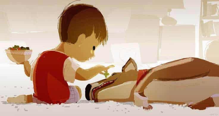 A criança e o seu animal de alma