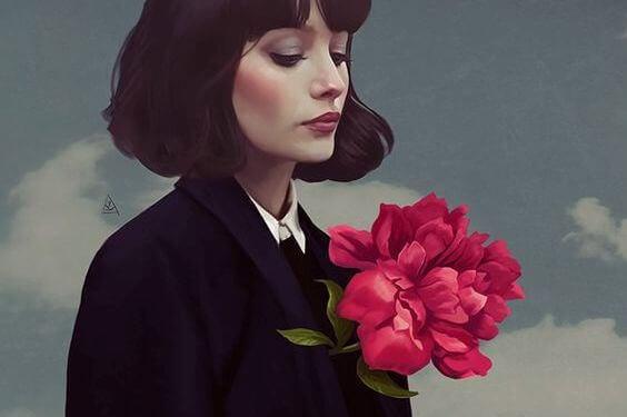 mulher-flor-no-casaco
