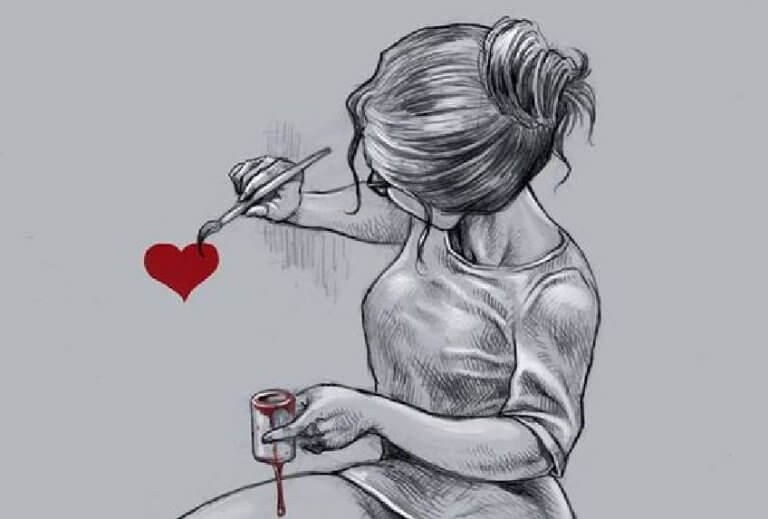 mulher-pintando-um-coracao