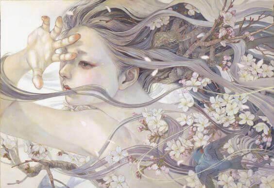 mulher-cabelos-longos-flores