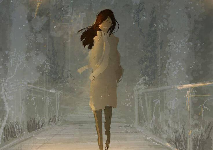 mulher-andando-feliz-por-recordar-o-amor