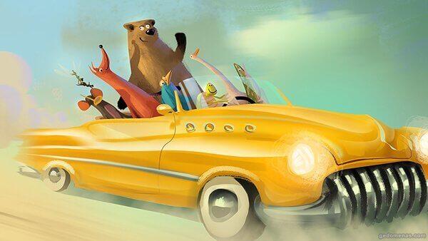 animais-carro