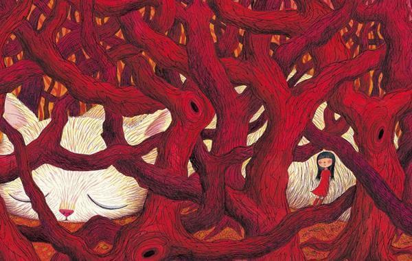 menina-e-gato-em-floresta-vermelha