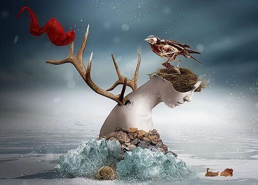 mulher-galhos-passaro