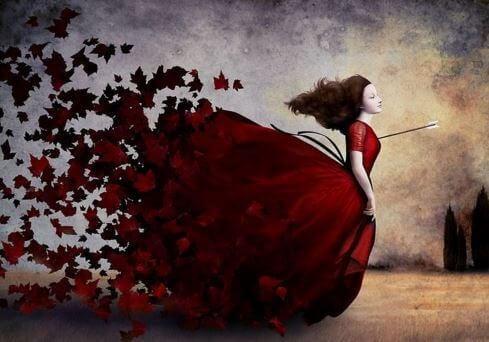 mulher-vestido-vermelho-de-folhas