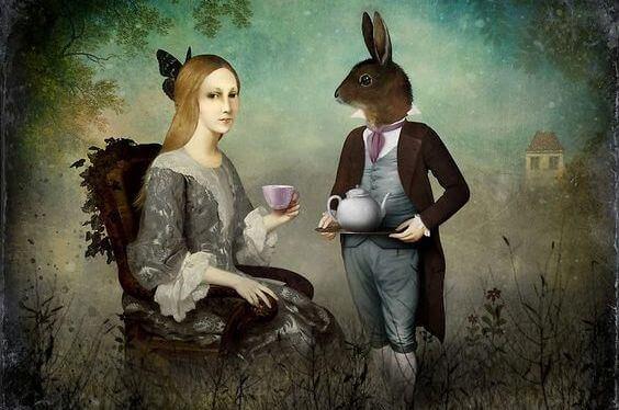 mulher-com-coelho-tomando-cha