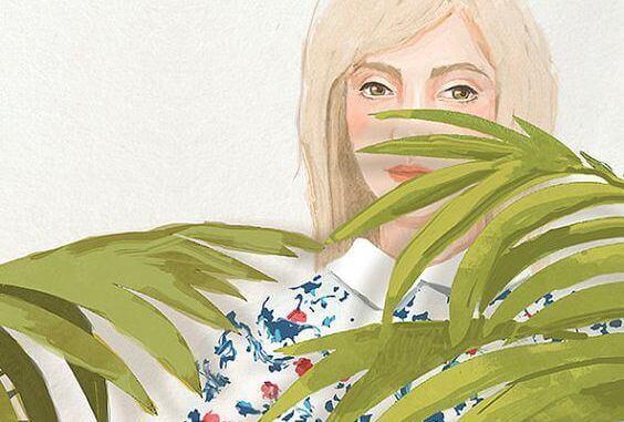 mulher-folhas-planta