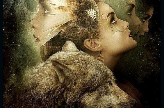 mulher-com-lobo