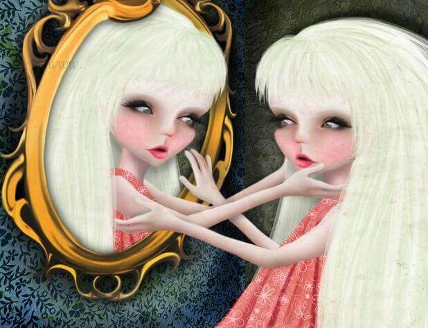 mulher-narcisista-se-olhando-no-espelho