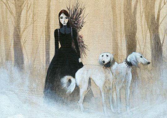 mulher-com-caes-floresta