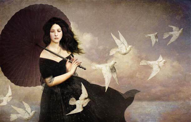 mulher-com-pombas-voando