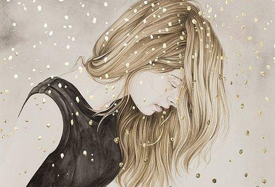 mulher-confetes-dourados