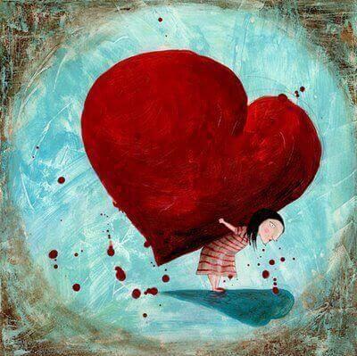 Menina carregando coração enorme e pesado
