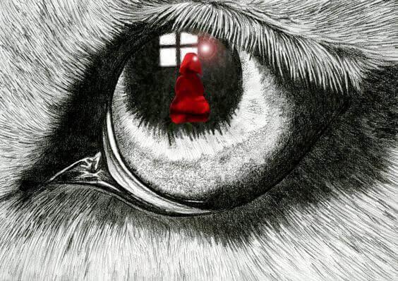 lobo-observando-chapeuzinho-vermelho
